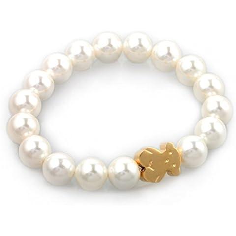 HIJONES Pulseras Joyería para Mujer del Acero Inoxidable 316l Lindo Oso de Oro Perlas Micro-elásticas