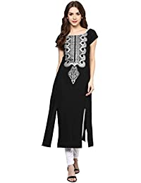 Ziyaa Women's Black Colour Boat Neck And Cap Sleeve With Front Two Slits Crepe Foil Print Straight Kurta (ZIKUCR451)