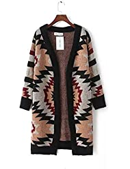 Ladies Nueva Geometric Patterned Long Sweater Coat