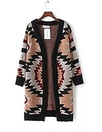 Ladies Nueva Geometric Patterned Long Sweater Coat