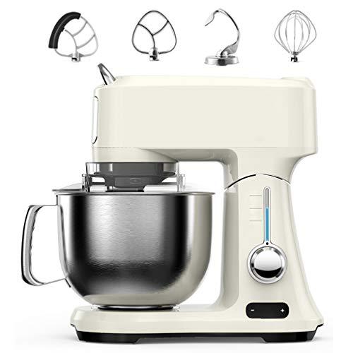 WLNKJ Küchenmaschine, Intelligente Leistungssteuerung Countdown-Design 6-Gang-Steuerung Rührer/Schneebesen/Teighaken 4 in 1 Elektrische Küchenkochmaschine 4.8L