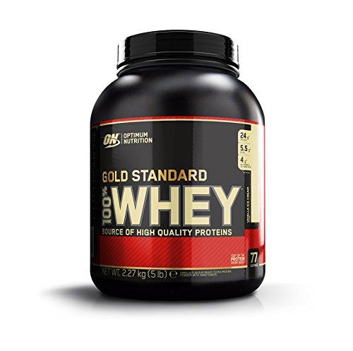 Optimum Nutrition Gold Standard 100% Whey, Proteína en Polvo, Sabor a Helado de Vainilla, 2.27 Kg