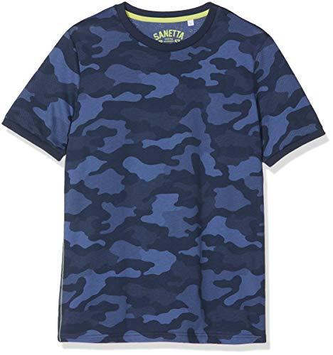 Sanetta Jungen Schlafanzugoberteil T-Shirt Allover, Blau (Classic Blue 5968), 140