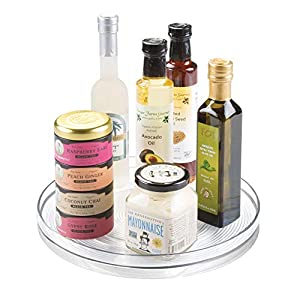 iDesign Küchen Organizer, großer Drehteller aus BPA-freiem Kunststoff für den Vorratsschrank, drehbarer Gewürzhalter für Vorratsdosen und Gewürze, durchsichtig