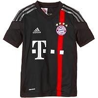 Adidas - Maglietta da ragazzo del FC Bayern München, torneo Champions-League, Nero (Black/Poppy/Iron Grey S08/Dark Shale),