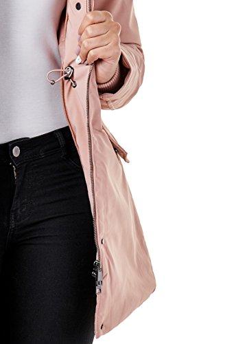 0d750e22ca2b ... EightyFive Damen Winter-Jacke Echt-Fell-Kapuze Schwarz Pink Khaki Beige  EF1837 Stone