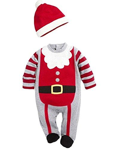 Baby unisex Weihnachten Party Spielanzug Christmas Baby Strampler Kostüme Langarm baby weihnachtsstrampler (70(0-6M), für Jungen)