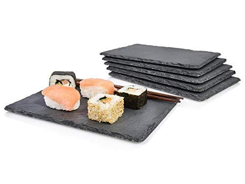 Sänger Schieferplatten Set \'Sushi\' 6 teilig | Styliche Servierplatten aus Schiefer | 22x16 cm | Naturstein Platten für Das Etwas Andere serviere