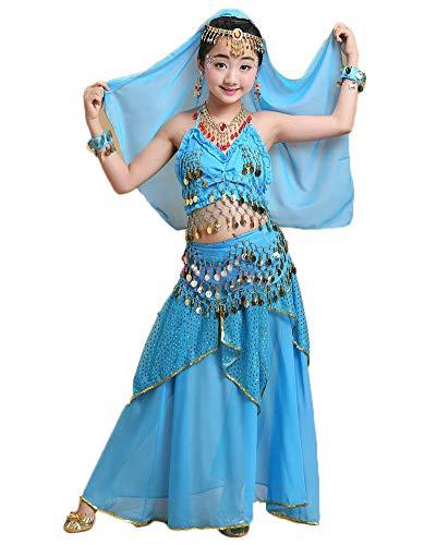 Tanzkleidung Für Kinder Mädchen Damen Bauchtanz Kostüm Outfit Crop Top + Rock Lake Blau 135-150CM
