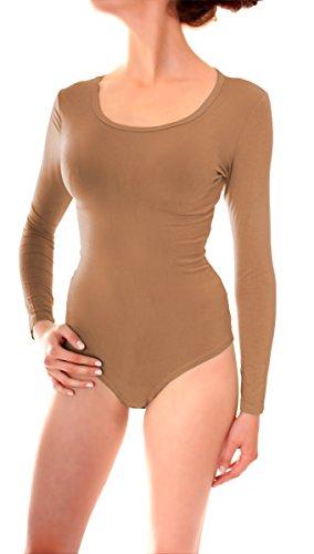 Damen Body Anzug Unterziehbody Wäsche Viskose Langarm Rundhals Ausschnitt Uni One Size Hellbraun