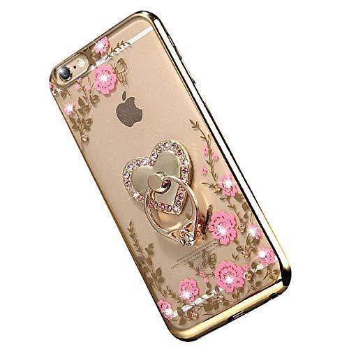 """Miagon Glitzer Durchsichtig Transparent Blumen Schmetterling Galvanik Silikon Hülle mit 360 Grad Diamant Ring Ständer Strass Schutzhülle für iPhone 8 Plus/7 Plus 5.5"""""""