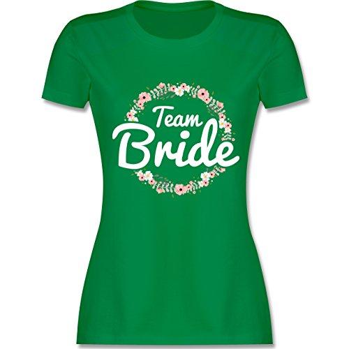 JGA Junggesellinnenabschied - Team Bride Blumenkranz - tailliertes Premium T-Shirt mit Rundhalsausschnitt für Damen Grün
