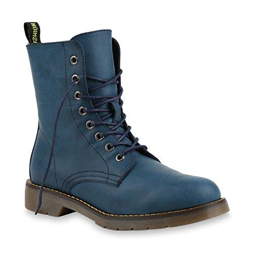 Stiefelparadies Damen Stiefeletten Stiefel Worker Boots Lack Profilsohle Schuhe 145944 Blau 39 Flandell