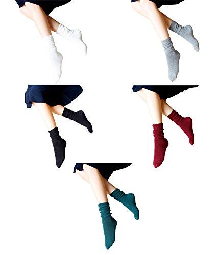 Zando donne stile vintage Comfort elastico morbido Hike Casual Sportivo Calzini Mix Color-5 Pairs C Taglia unica