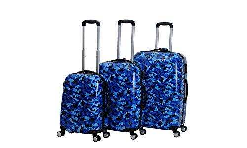 CT Hot Case Reisekoffer Trolley Hartschalen Polycarbonat mit Zahlenschloss und 4-Zwillingsrollen 20' 24' 28' 3er Set (28'/L, Camouflage Blau)