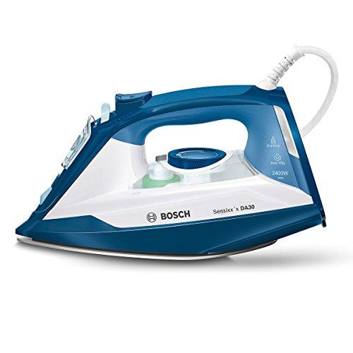 Bosch TDA3024020 Dampfbügeleisen Sensixx'x DA30 (2400 Watt max., Dampfstoß 150 g/min., Dampfleistung 40 g/min., CeraniumGlissée Bügelsohle) weiß/smokey blau