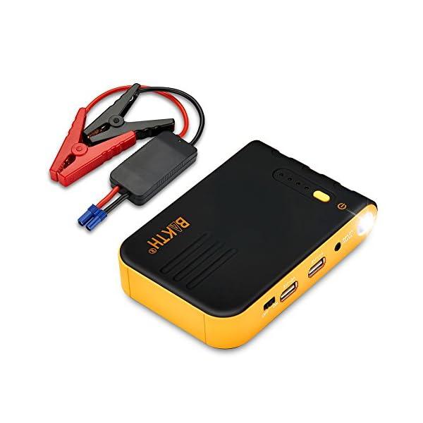 BAKTH 12900mAh Car Jump Starter, 400A Corriente Máxima de Emergencia Power Bank Externo Cargador de Batería con Linterna LED