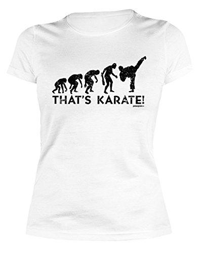 Damenshirt, T-Shirt, Girlieshirt für Kampfsportfreunde - Evolution - That`s Karate! Farbe: weiss Weiß