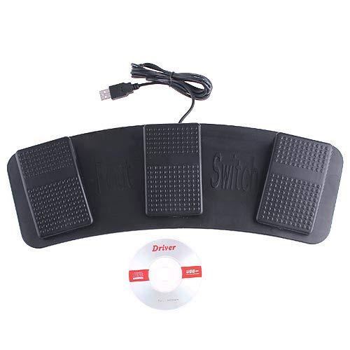 KKMOON 3 Tasten Schwarz NEU USB PC HID Fußschalter Fußpedal Fußtaster Pedal Foot Switch