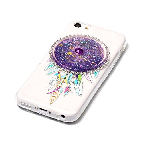 iPhone 5C Hülle, Kreativ Design 3D Transparent Soft Silikon Hülle Case Dynamisch Heart-shaped Treibsand Liquid Fließen Flüssig Schwimmend Tasche Handyhülle Glitter Glitzer Sparkle Hart TPU Bumper Crys 6