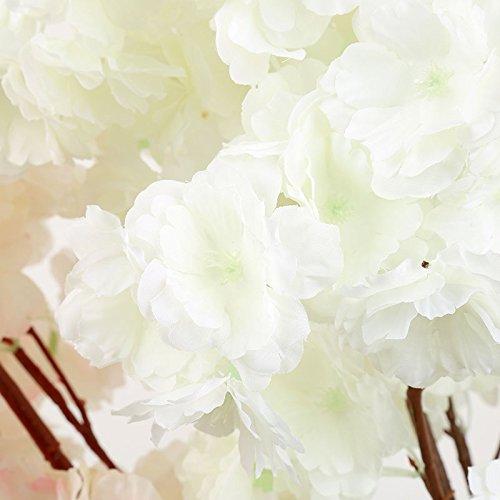 (guoyihua Künstliche Sakura Blumen Traubenblätter Fake Seide Kirsche Pfirsich Blüten Simulation Hochzeit Home Party Ornament Dekoration, plastik, weiß, as picture shown)