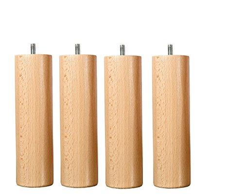 Hevea Selection Möbelfüße aus Holz, Höhe 25cm Befestigung Standard M8
