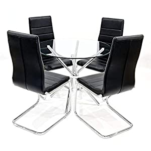 90cm Round Glass Criss Cross Table With Four Svenska Dining Chairs