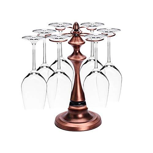 Kreativer Rotwein-Becherhalter Antiker turmförmiger Becherhalter Schmiedeeisen-Weinregal im europäischen Stil 6-teiliger Wein-Becher mit hohem Fuß (Color : Brass) -