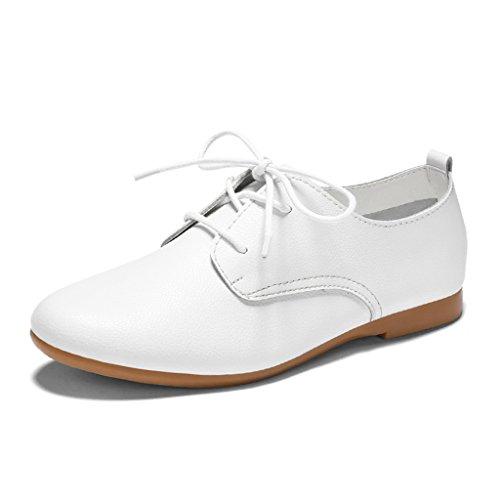 HWF Chaussures femme British Style printemps en cuir plat chaussures de sport College Women's Shoes chaussures simples étudiants blanc