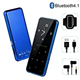 MP3 Player - HonTaseng Portable Sport Bluetooth 4.1 Metal Music Player With Touch Button, 60 Hours Playback Time, HiFi Sound With Voice Recorder And FM Radio, Expandable 64GB TF Card (Blue)