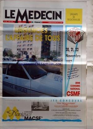 MEDECIN DE FRANCE (LE) [No 492] du 04/05/1987 - urgences - l'affaire de tous