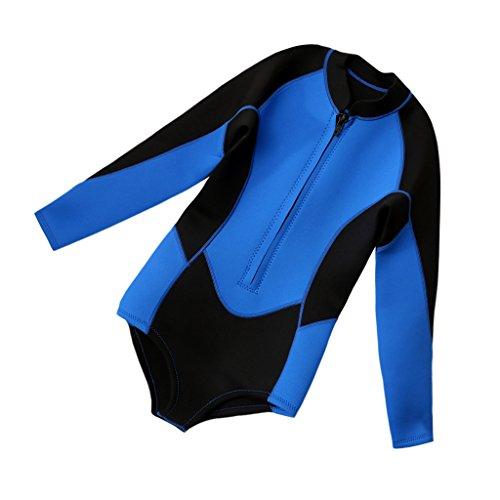 MagiDeal Damen Neopren Badeanzug Bikini Langarm 3mm Neoprenanzug UV Schutz Wetsuit - Blau und Schwarz, M