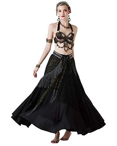 Kostüm Maß Nach Tanz - NANXCYR Damen Fairy Belly Dance Rock Tribal Kostüm Chiffon Rock Bollywood Kleid Halloween Dance Outfit Eleganter Ballsaal Langes Latin Performance Kleid,Schwarz,M