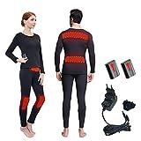 J-Jinpei Beheizte Thermounterwäsche für Männer und für Frauen Tops + Pants kalten Schutz warme Knieschützer Taille schlank tragen Wiederaufladbare 3000mAh Lithium-Batterie -20 Grad Größe L(Schwarz)