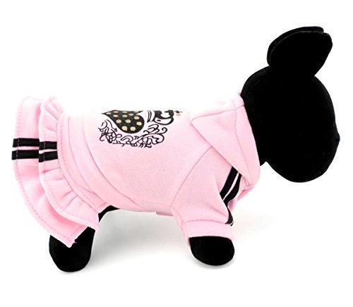 selmai Herz Print Princess Kapuzen Fleece Kleine Hund Cat Pullover Jacke Kleid Schicht Pet Hund Hoodies Sweatshirts Kleidung Apparel (Brust Dress Kostüme Up Princess)