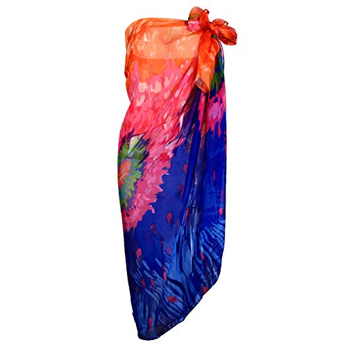 Faleto Paréo Sarong Femme Fille Cache-Maillot Écharpe Robe Cover Up Couverture de Bikini Maillot de Bain d'Été Plage Piscine Léger(Orange-180 * 130cm)