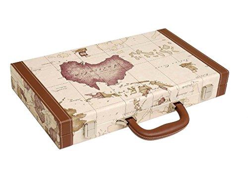 Luxus-Backgammon-Set auf Weltkarte, 15 Zoll – Weiß