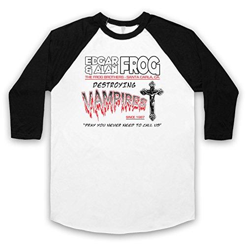 Inspiriert durch Lost Boys Frog Brothers Edgar & Alan Inoffiziell 3/4 Hulse Retro Baseball T-Shirt Weis & Schwarz