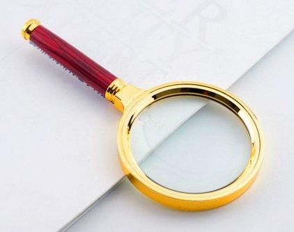 portatif Loupe Loupe Diamètre de la lentille: 60mm Grain de bois Poignée Métal Loupe 3–5fois