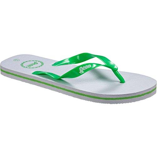 Herren Zehentrenner Penn Basic Einfach Reinschlüpf Strand Flip Flops Weiß/Grün