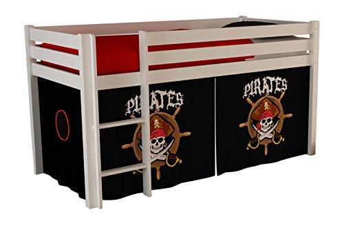 """VIPACK PICOHSZG1477 Spielbett Pino mit Textilset """"Pirates"""", Maße 210 x 114 x 106 cm, Liegefläche 90 x 200 cm, Kiefer massiv weiß lackiert"""