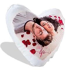 Idea Regalo - LaMAGLIERIA Cuscino Personalizzato a Cuore con la Tua Foto - 40cmx40cm - Formato Love a Cuore - Bianco - con Imbottitura