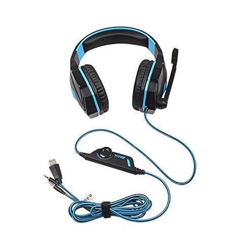 Homgrace Multi-Plattform Gaming Headset G4000 USB Kopfhörer mit Mikrofon und LED-Licht für PS4 Xbox One Nintendo Switch PC Laptop Tablet Smartphone -