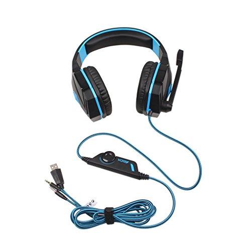 Preisvergleich Produktbild Homgrace Multi-Plattform Gaming Headset G4000 USB Kopfhörer mit Mikrofon und LED-Licht für PS4 Xbox One Nintendo Switch PC Laptop Tablet Smartphone - Blau&Schwarz