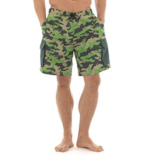 Pour Homme Motif camouflage swimshorts style cargo Tom Franks Surf Plage Vacances Cordon élastique Vert - Kaki