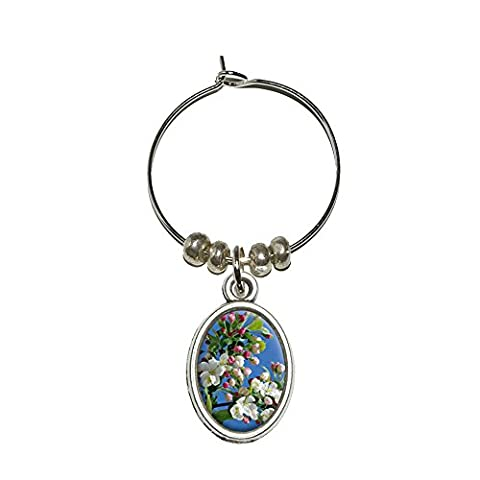 Apple Blossom Wine Glass Oval Charm Drink Marker