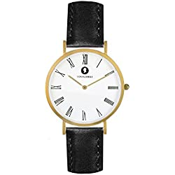 Matt gold men's/ladies' Analog Watch with black leather strap - hand crafted by VON FLOERKE