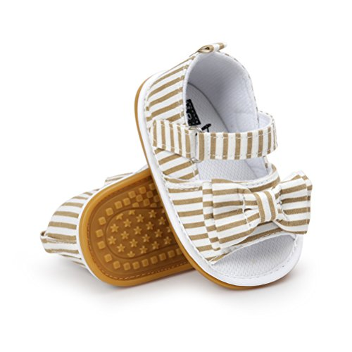 Sandali da Bambina, Bowknot Scarpe per Neonata Estive Scarpine Primi Passi (18 EU, Kaki)