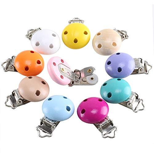 ETSAMOR Schnullerclip 10 Pcs Schnullerketten Clip aus Holz Silikon Metall BPA Free Clip Schnuller für Baby Spielzeug DIY Schmuck Zubehör -