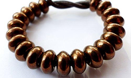 Rondelle (20pezzi) x 11mm donut piatto rotondo foro grande anello distanziale ceca perle di vetro bronzo-rivestito-H027